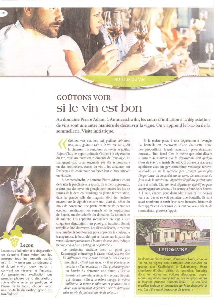 Article de presse du cours d'oenologie du domaine Pierre Adam