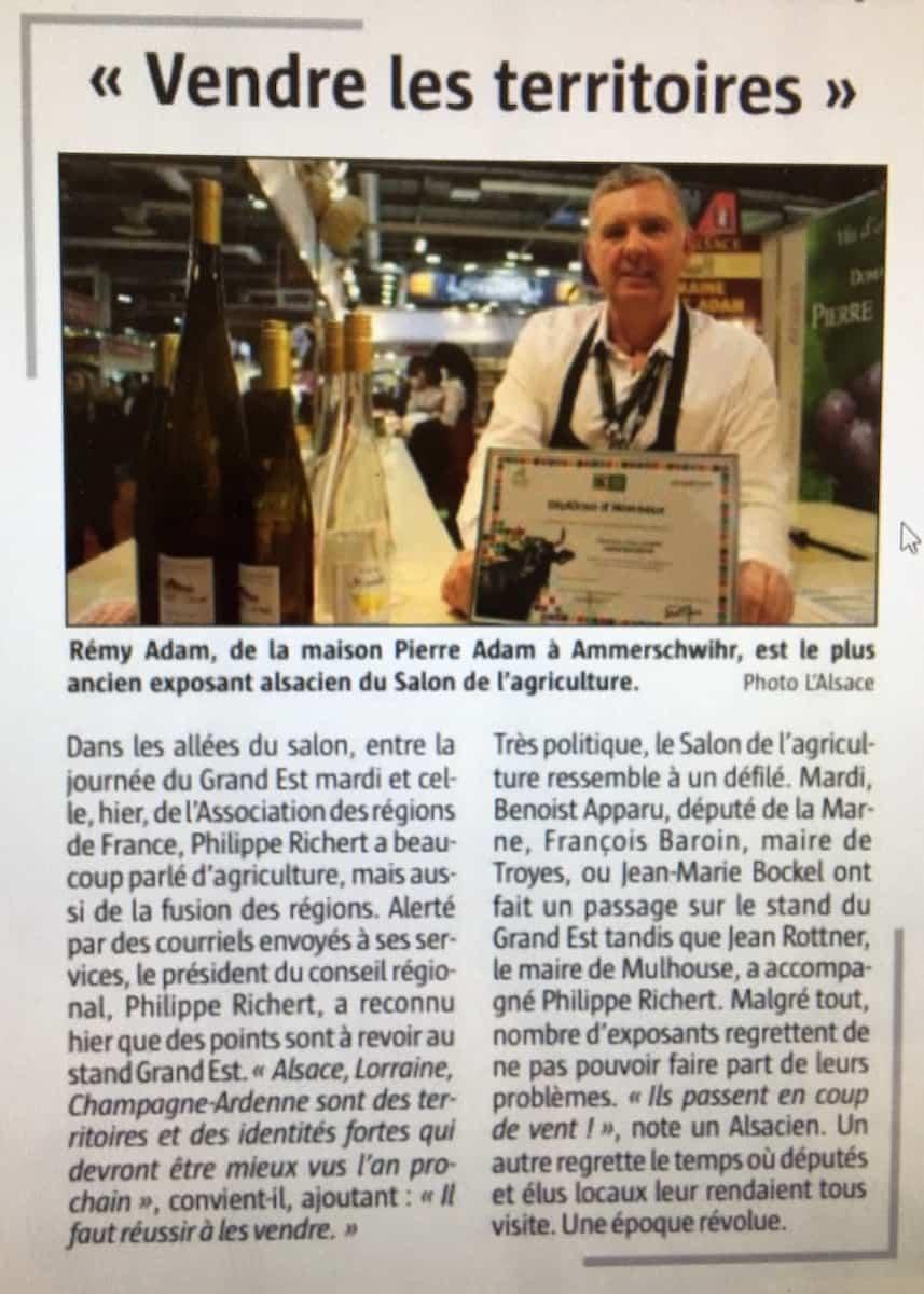 Article de presse salon de l'agriculture des vins Adam