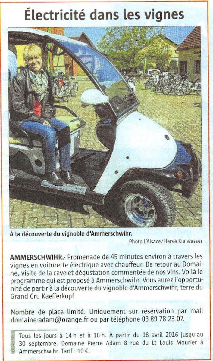 Article de press voiture électrique au domaine Pierre Adam